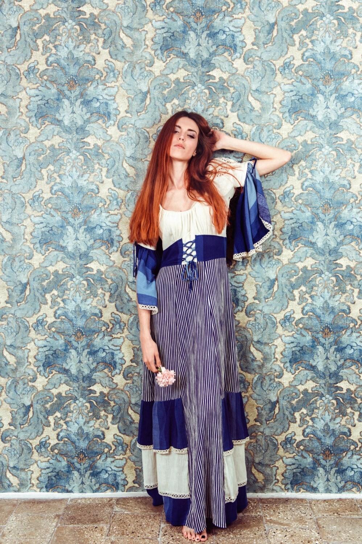 robe vintage des ann es 70 robe hippie robe boh me robe. Black Bedroom Furniture Sets. Home Design Ideas