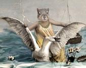 Svanhilda, Vintage Squirrel Print, Anthropomorphic, Cottage Chic, Quirky Art, Whimsical Squirrel, Squirrel and Swan, Ocean Wall Decor