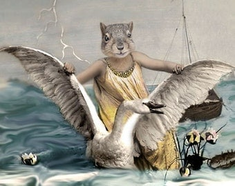 Svanhilda, Vintage Squirrel Print, Anthropomorphic, Cottage Chic, Quirky Art, Whimsical Squirrel, Squirrel and Swan, Ocean Wall Decor