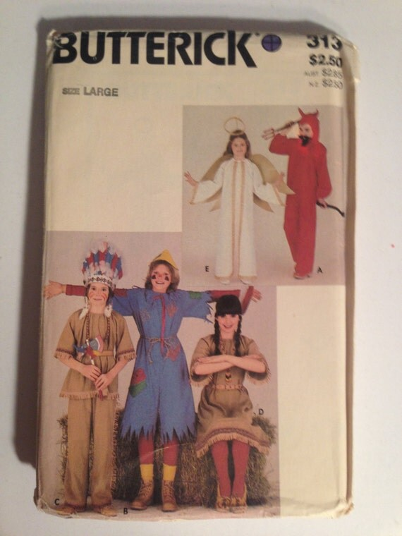 Butterick 313 Sewing Pattern UNCUT 80s Childrens Costume Angel, Devil, Indian and Scare Crow Size 12-14