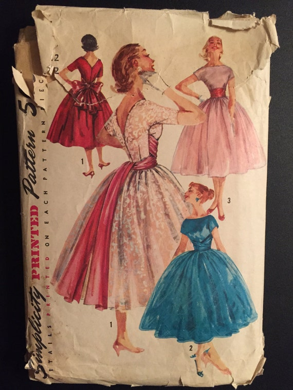 Simplicity Sewing Pattern 40s 1795 Juniors and Misses One Piece Dress and Cummberbund Rockabilly Prom Dress Size 12