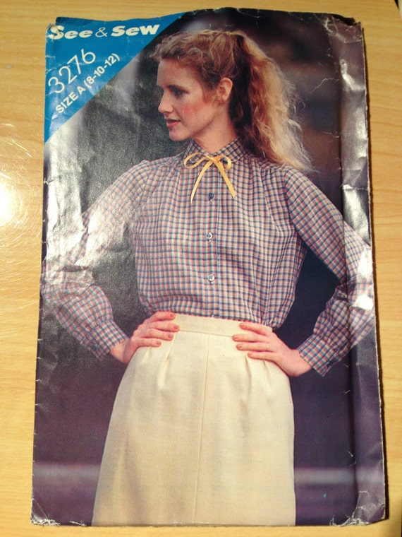 Butterick 3276 See and Sew Sewing Pattern 70s Misses Blouse Size 8-12