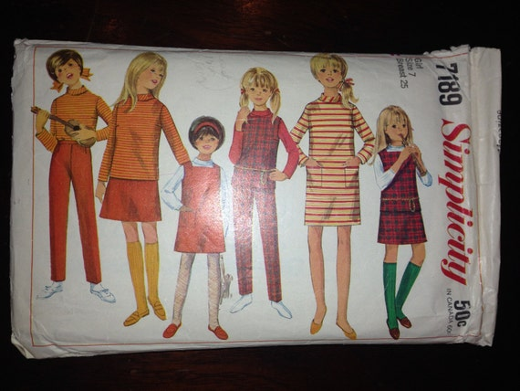 Simplicity Sewing Pattern 7189 Girls Wardrobe: Dress, Blouse, Top, Jumper, Skirt and Pants Vintage 60s Size 7