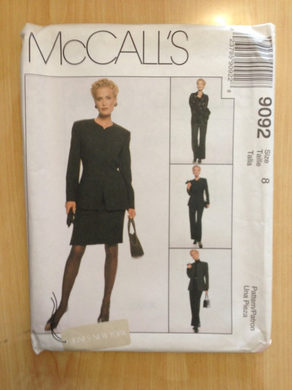 Misses Lined Jacket, Shirt, Pants and Skirt McCalls Sewing Pattern 9092 90s Size 8 Uncut