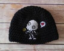 Day of the Dead Baby Hat - Crochet Baby Hat - Skull Baby Clothes - Creepy Cute - Goth Baby - Skeleton Baby Clothing - Dia De Los Muertos