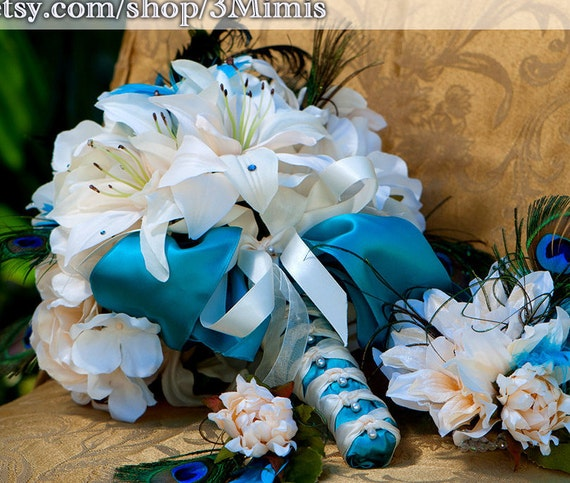 Tiger Lily Wedding Bouquet, Peony Bridal Bouquet, Teal and Ivory Wedding, Peacock Feathers, Summer, Fall, Autumn Beach Wedding