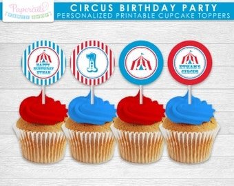 Circus / Carnival Theme Birthday Party Cupcake Toppers | Blue & Red | Personalized | Printable DIY Digital File