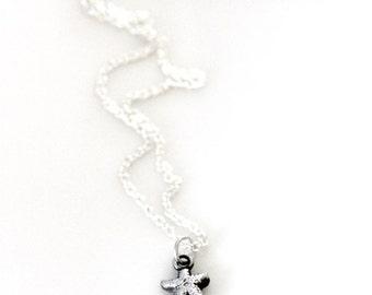 tiny silver starfish necklace | minimalist | handmade jewelry | beach jewelry | artisan silver jewelry | minimalist jewelry | girlthree