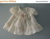 ON SALE Vintage Ivory Cream Dot Ruffled Baby Dress / Spring Easter Dress / baby girl size 6 months