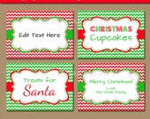 Holiday Party Food Labels, Christmas Food Labels, Printable Food Label Template, EDITABLE Holiday Place Cards, Christmas Chevron Labels C4