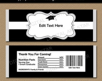 Black and Orange Candy Bar Wrappers Birthday Candy Labels