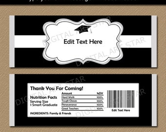 free printable graduation candy bar wrappers templates - printable party decorations editable pdf files by