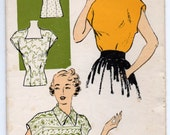 """1950's New York Blouse with V-neck, Square, High and Straight Neckline Pattern - UC/FF - Bust 36"""" - No. 492"""