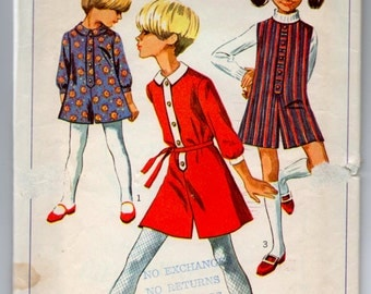 """1960's Simplicity Girl's Jumper or Dress - Breast 30"""" - Size 12 - No. 7280"""