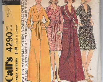 """1970's McCall's Robe in two lengths pattern - Bust 32.5""""-34"""" - No. 4290"""