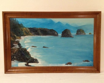 LARGE Vintage SEASCAPE Oil Painting Framed Signed F Dobesh (Frank) Ocean Shoreline