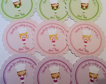 Baking Party Favor Tags ( Set of 12) / Kids Baking Birthday Favors / Kids Cooking Birthday Favors / Chef Birthday Favors / Cooking Party