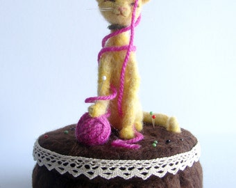 Pin Cushion Cat. Cat Pincushion.  Needle Felted Cat on a cushion with a ball of wool