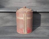 Vintage Red Gas Can - 1 Gallon Galvanized Gas Can - Wire Handled Fuel Container - Gasoline Can