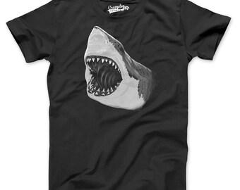 Mens Great White Shark T-Shirt shark shirt, jaws t shirt, jaws movie, mens tshirts, surfer shirt, just keep swimming, guys S-2XL