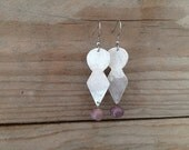dangle earring with purple handblown glass lampwork beads