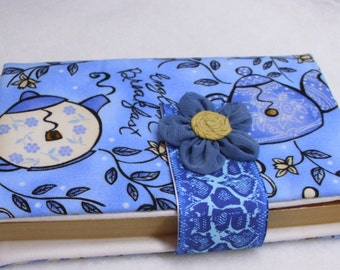 Paperback book cover, padded, protective, bookmark, closure,  English breakfast, teapots, tea, blues, blue, case purse holder tote, fabric