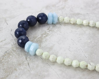 Aquamarine + Jade Necklace, Gemstone Statement Necklace