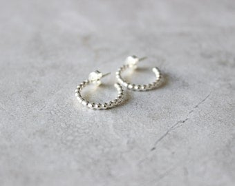Silver Dot Hoops, Silver Hoop Earrings, Sterling Silver Earrings