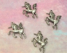 Unicorn Charms -4 pieces-(Antique Pewter Silver Finish)