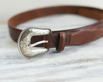 Vintage Leather Western Belt w/ silver plated buckle by Justin (Size Large 46)