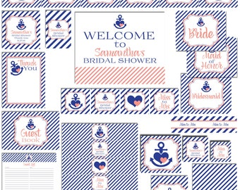 Nautical Party Package-Bridal Shower Party Package-Personalized Party Package-DIGITAL DOWNLOAD