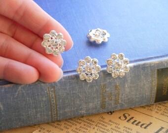4 pcs Silver Rhinestone Floral Bling Shank Buttons HEAVY DUTY 17mm (SB2150)