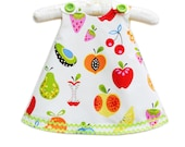 Tutti Fruity - Fall Winter Girls Aline Dress - Children Dress - Modern - Children Autumn Clothing - Kids - Fruits - 3M to 4T