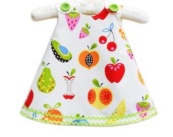 Tutti Fruity - Fall Winter Girls Aline Dress - Children Dress - Modern - Children Autumn Clothing - Kids - Fruits