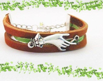 Leather Friendship Bracelet. Adjustable Length w/Extender Chain..Genuine Latigo Leather. FREE U.S. Shipping-Beautiful Graduate Gift