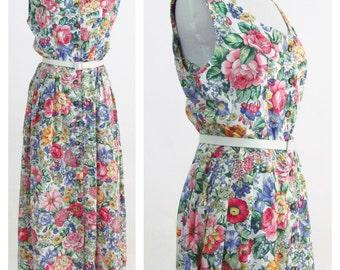 Vintage 1980s Dress - Rainbow Floral Cotton blend Summer Dress - Rose Print Sleeveless Button up Day Dress - Size Medium