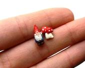 Miniature Garden Gnome and Mushroom Stud Earrings 1.2cm