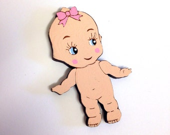 Kewpie Cutie - hand painted wooden brooch