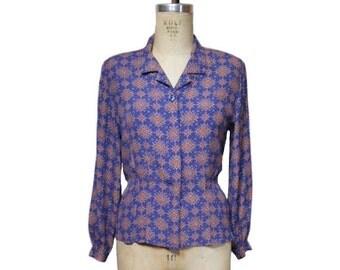 vintage 1940's style blouse / Liz Claiborne / novelty print / peplum blouse / 80s does 40s / women's vintage blouse / tag size 4 petite
