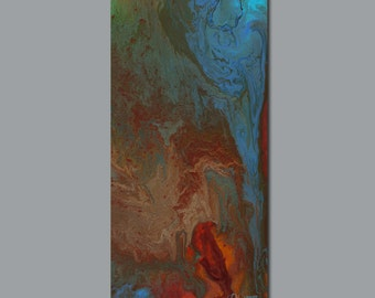 Tall canvas print of abstract painting, Red teal turquoise blue green brown, Home decor, Office wall art decor, Entry Foyer, Large artwork