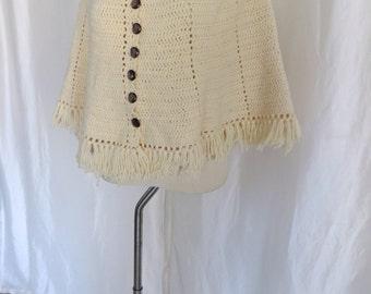 Vintage 70s womens cape poncho, button down sweater, beige knit retro hippie fringe poncho