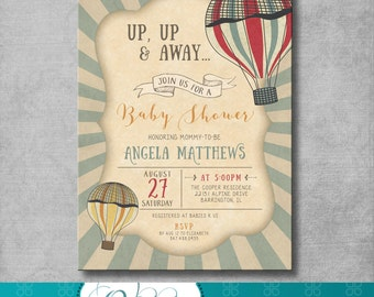Vintage Hot Air Balloon Baby Shower Invitation - Up Up and Away - Gender Neutral - Red - Blue - Customizable - DIY Printable - Digital