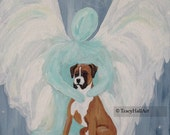 "Boxer Dog Art Angel Painting Pet Remembrance Memorial Gift Guardian Angel Art Canvas 9"" x 12"""