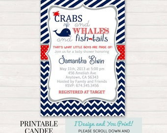 Whale Baby Shower Invitation, Whale Baby Shower, Navy Red Stripes