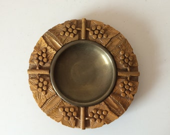 Carved Wood and Brass Tray