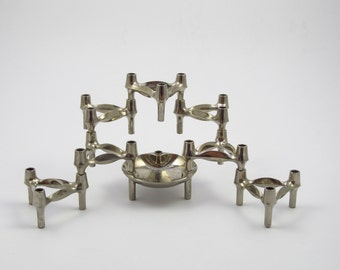 Set of 7 space age candle holders plus bowl designed by Fritz Nagel BMF 1960s candle sticks & stackable +bowl