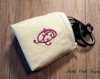 Ear Bud Pouch / Ear Bud Case / Earbud Holder / Zippered Coin Pouch / Personalize with Single Initial Monogram/ Pick Your Lining Color