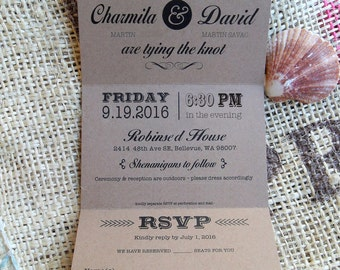 Trifold Wedding Invitations Invites  RSVP Postcard 3.5 x 5.5 folded vintage rustic country trifold gray yellow  all colors available