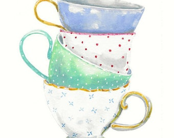 Still Life Kitchen Decor Art Print of Original Watercolor Painting -- Teacups no. 6