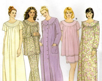 """Women's Nightgown, Pajamas and Robe Pattern - Size Large, X-Large, Bust 40"""" to 42"""" - Simplicity 9012 uncut"""